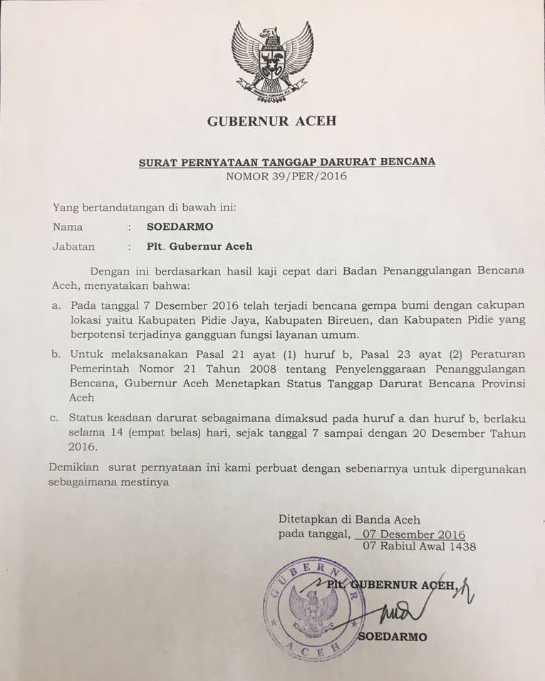 Surat Pernyataan Tanggap Darurat Bencana